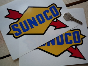 "Sunoco Old Style Stickers. 4"", 5"", 6"" or 8"" Pairs."