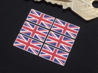 Union Jack Small Coloured Stickers. Set of 6. 18mm or 25mm.