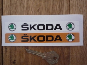 "Skoda Number Plate Dealer Logo Cover Stickers. 5.5"" Pair."
