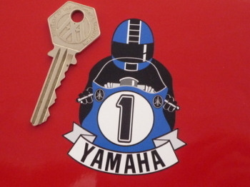 "Yamaha Full Face Helmet Blue Cafe Racer Sticker. 3""."