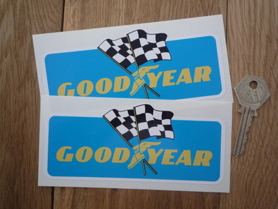 "Goodyear Flags Blue Oblong Stickers. 5.5"" Pair."