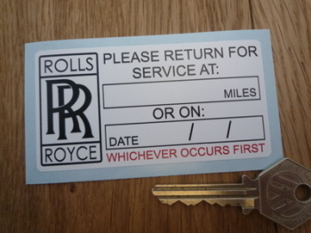 "Rolls Royce 'Please Return for Service' Sticker. 3.5""."