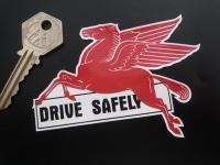 "Mobil Pegasus Drive Safely Lick'n'Stick Window Sticker. 4""."