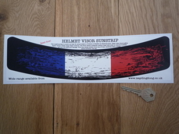 "France Tricolore Worn & Distressed Style Helmet Visor Sunstrip Sticker. 12""."