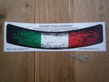 "Italian Tricolore Worn & Distressed Style Helmet Visor Sunstrip Sticker. 12""."