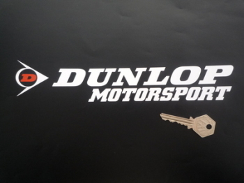 "Dunlop Motorsport Cut Letters & Red 'D' Logo Stickers. 10"" Pair."