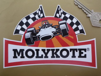 "Molykote Race Car & Chequered Flags Shaped Sticker. 6""."