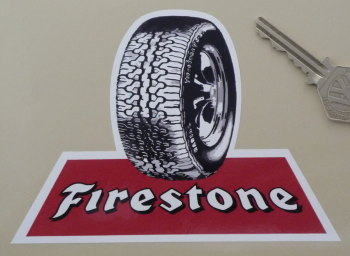 "Firestone & Wheel Style Shaped Sticker. 5.5""."