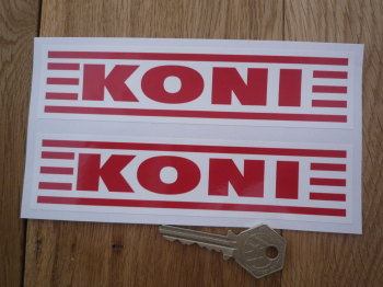 "Koni Red Straked Oblong Stickers. 6.25"" Pair."