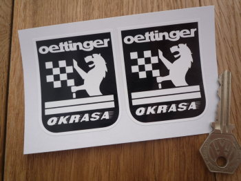 "Oettinger Okrasa Black & White Stickers. 2.5"" Pair."