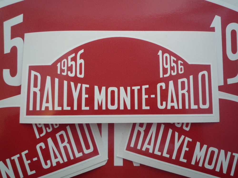 "Monte-Carlo Rallye Rally Plate Stickers. 1955 - 1960. 6""."
