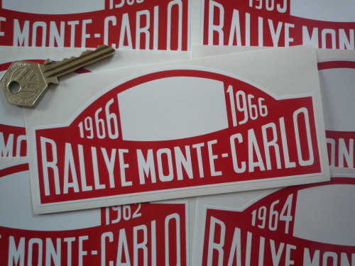 Monte-Carlo Rallye Rally Plate Stickers. 1961 - 1974. 6