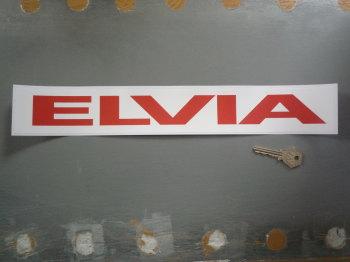 """Elvia Red & White Oblong Sticker. 16""""."""