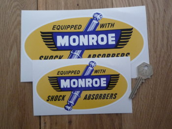 """Monroe Equipped With Shock Absorbers Sticker. 6"""" or 8""""."""