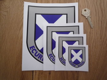 "Ecurie Ecosse Scottish Saltire Shield Sticker. 2.5"", 3.5"", 5"", 6"", 7"", or 10""."