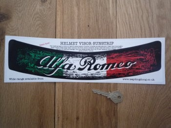 "Alfa Romeo Tricolore Worn & Distressed Style Helmet Visor Sunstrip Sticker. 12""."