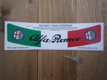 "Alfa Romeo Tricolore Style Helmet Visor Sunstrip Sticker. 12""."