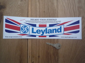 "British Leyland Union Jack Style Helmet Visor Sunstrip Sticker. 12""."