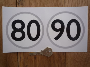 "European Towing Speed Limit Stickers. 80 & 90 Km/h. 4"" Pair."