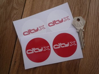 Austin Metro City X Red & White Circular Stickers. 48mm Pair.