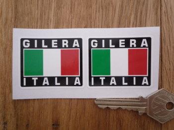 "Gilera Italia Tricolore Flag Style Stickers. 2"" Pair."