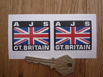 "AJS Great Britain Union Jack Style Stickers. 2"" Pair."