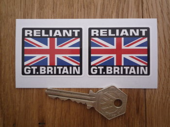 "Reliant Great Britain Union Jack Style Stickers. 2"" Pair."