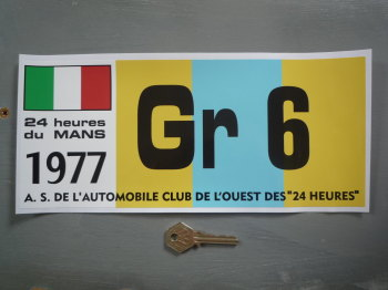 "24 Heures Du Mans LeMans Le Mans 1977 Group 6 Gr Class Sticker. 12""."