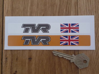 "TVR Number Plate Dealer Logo Cover Stickers. 5.5"" Pair."