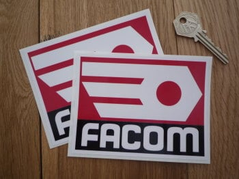 "Facom Black, Red & White Square Stickers. 4.5"" Pair."