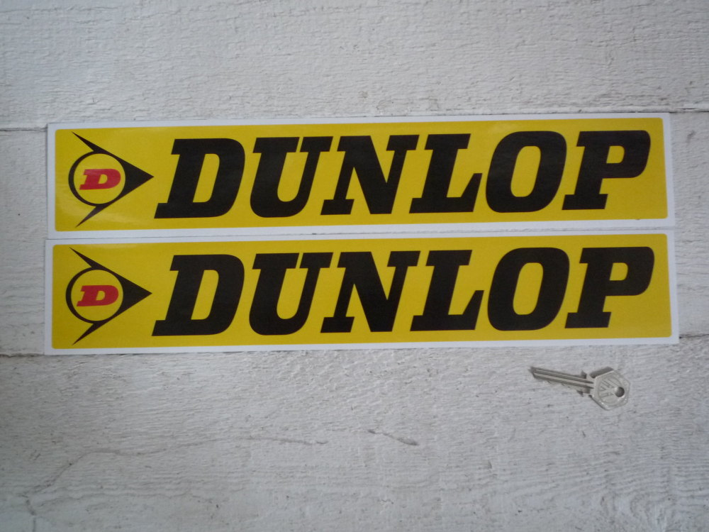"Dunlop Black on Yellow with Red D Stickers. 16"", 18"", or 27"" Pair."