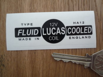 Lucas Coil Sticker. Fluid Cooled Clear. HA12 12V. D.