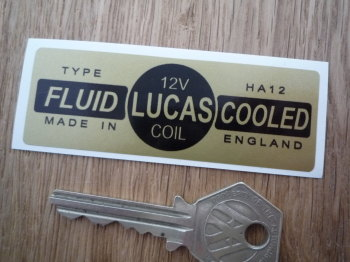 Lucas Coil Sticker. Fluid Cooled Gold. HA12 12V. O.