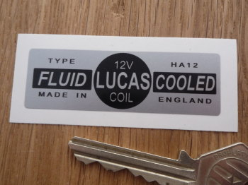 Lucas Coil Sticker. Fluid Cooled Silver. HA12 12V. P.