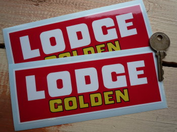 "Golden Lodge Red, White & Yellow Oblong Stickers. 6"" Pair."