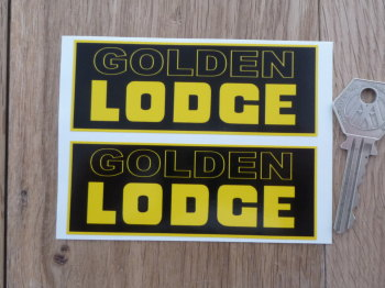 "Golden Lodge Yellow & Black Oblong Stickers. 4"" Pair."