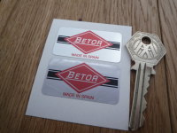 "Betor Gas. Made in Spain. Oblong Foil Style Stickers. 1.75"" Pair."