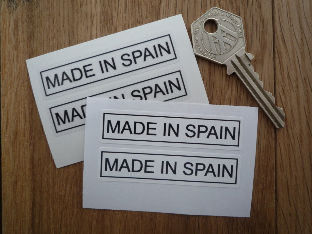 """Made in Spain Oblong Stickers. 2.5"""" Pair."""