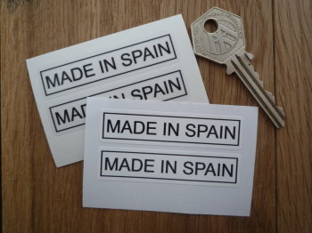 "Made in Spain Oblong Stickers. 2.5"" Pair."