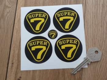 Lotus Super 7 Black & Yellow Wheel Centre Stickers. 50mm Set of 4.