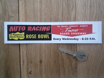 "Auto Racing at Pasadena's Rose Bowl Board Speedway Sticker. 8""."