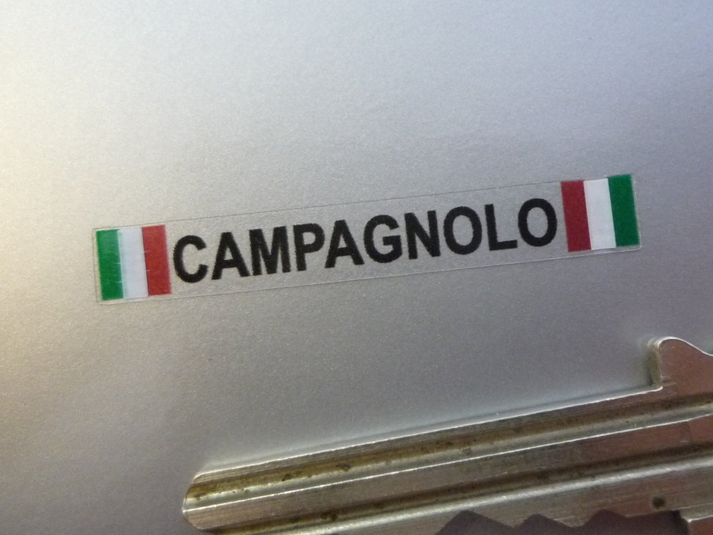 "Campagnolo Text & Tricolore Style Stickers. Set of 4. 1.5""."