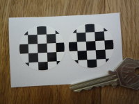 Chequered Black & White Circular Stickers. 38mm or 50mm Pair.