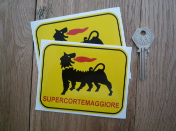 "Supercortemaggiore Oblong Stickers. 4.25"" Pair."