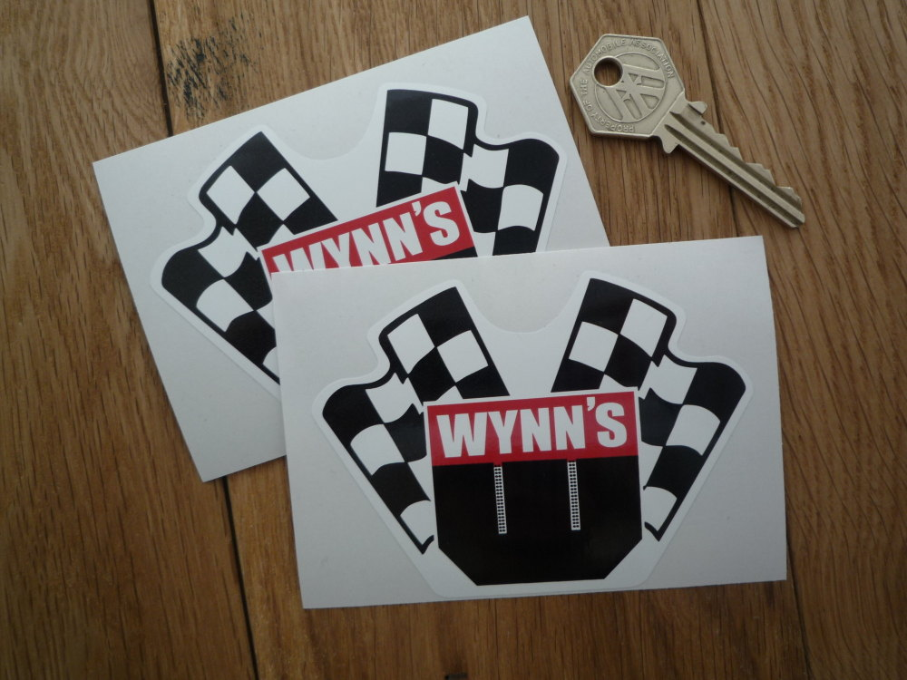 """Wynn's Crossed Flags Shaped Stickers. 4"""" Pair."""
