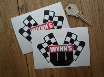"Wynn's Crossed Flags Shaped Stickers. 4"" Pair."