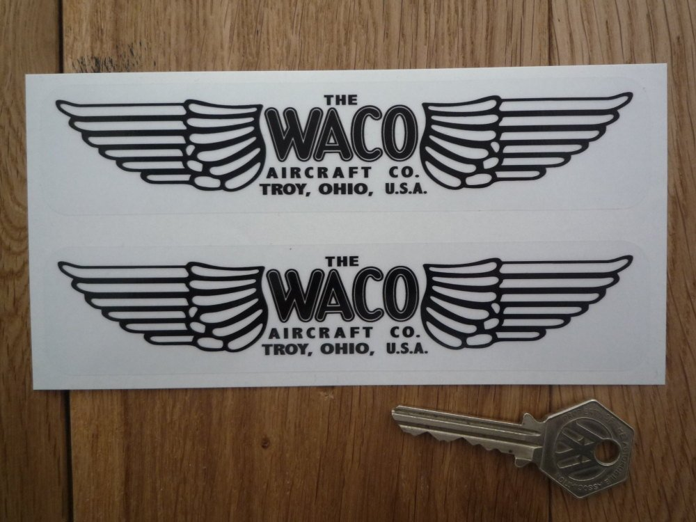 "Waco Aircraft Co. Wing Logo Black & Clear Stickers. 6"" Pair."