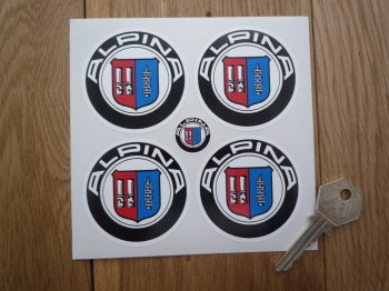 BMW Alpina Wheel Centre Stickers on White. Set of 4. 60mm or 64mm.