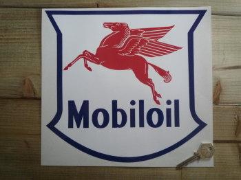 "Mobil Mobiloil Navy, Red & White Non-Serif Style Shield Sticker. 10""."