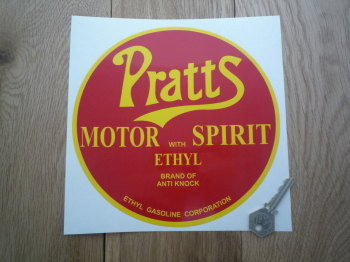 "Pratt's Motor Spirit with Ethyl Red & Yellow Circular Sticker. 8""."